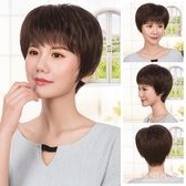 假髮女短髮中老年真人髮絲直髮全頭套式自然蓬鬆JA7147『科炫3C』