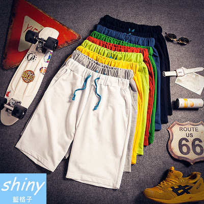 【Y060】shiny藍格子-休閒男孩.夏季韓版純色修身大碼運動休閒五分褲