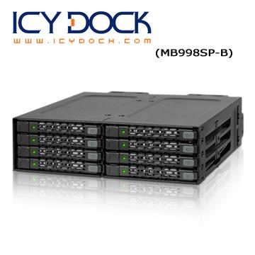 "ICY DOCK 全金屬八層式 2.5"" SATA HDD/SSD 轉一5.25"" 硬碟背板模組 (MB998SP-B)"