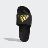 Adidas Adilette男女款黑底金logo舒適拖鞋-NO.B41742