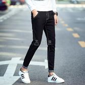 男士保暖牛仔褲 男生黑色牛仔褲男修身小腳韓版潮流青年加絨加厚 俏女孩