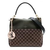 【台中米蘭站】全新品 Louis Vuitton MAIDA 帆布拚牛皮雙口袋單把手提/斜背二用包(N40366-卡其綠)