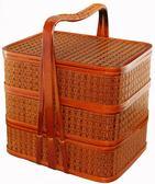 三層竹編送餐籃外賣手提籃禮品籃食盒酒店送餐盒禮品籃竹編野餐籃  野外之家DF