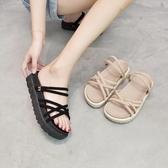 特賣平底涼鞋沙灘涼鞋女平底夏季新款網紅百搭超火仙女風時尚羅馬鞋潮