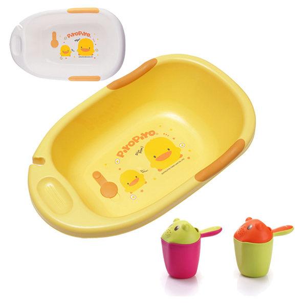 【奇買親子購物網】黃色小鴨雙色豪華型沐浴盆+baby hood 小熊熊洗頭杯