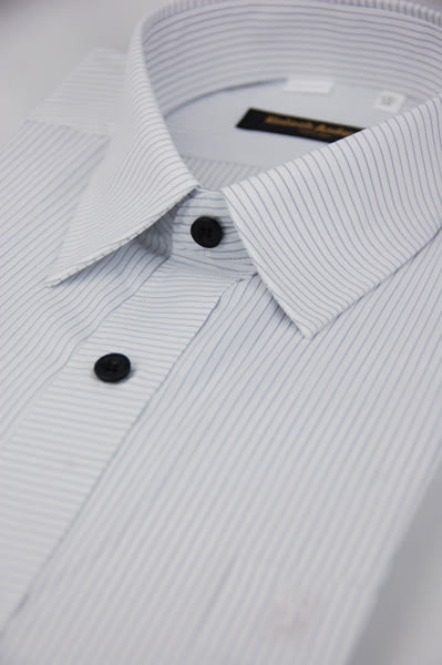 【金‧安德森】白底領直紋門襟橫紋短袖襯衫