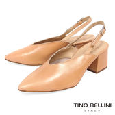 Tino Bellini 義大利進口V型鞋楦側釦帶中跟鞋 _ 膚 B83204 歐洲進口款