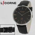 【萬年鐘錶】 LICORNE  entree  經典簡約超薄真皮腕錶  黑 40mm  LT056MWBB-R