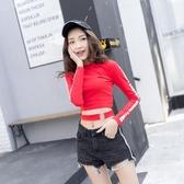 秋季AA歐美風性感長袖女T恤高腰露臍短款上身緊身打底衫女運動身