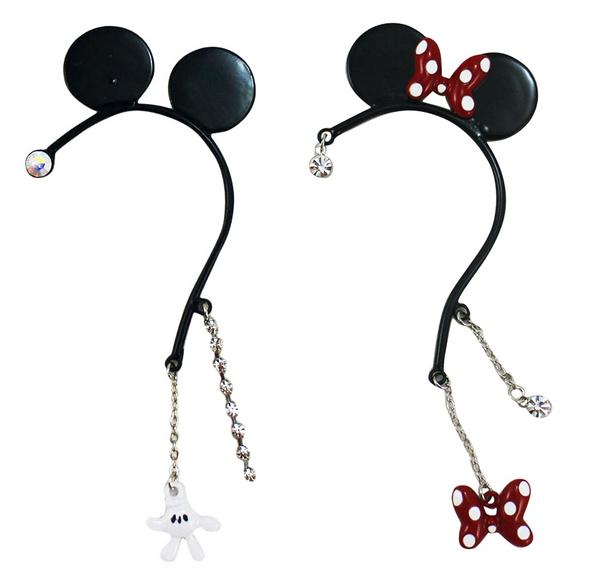 【卡漫城】 米奇 耳鈎 飾品 ㊣版 左耳 造型 掛式 免耳洞 耳環 女孩 首飾 配件 耳夾 Mickey 迪士尼