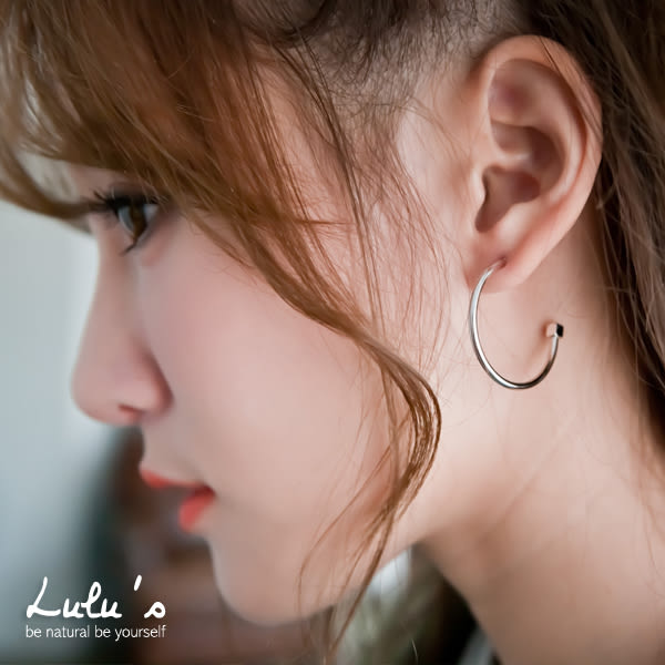LULUS-N韓製-後方格半月耳環大組合-銀  現+預【08060087】