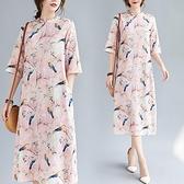洋裝 中大尺碼女裝 2021夏季新款大碼棉麻印花文藝復古中長款連身裙寬鬆顯瘦胖mm