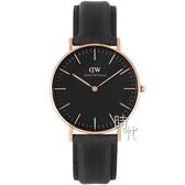 【台南 時代鐘錶 Daniel Wellington】DW00100139  classic經典真皮手錶-黑X玫瑰金/36mm