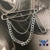 胸針百搭西服個性金屬裝飾鏈子吊墜別針簡約配飾【古怪舍】