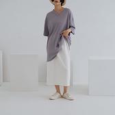 Queen Shop【03020912】抽繩後開衩不收邊棉質長裙 三色售 S/M*現+預*