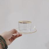 咖啡杯碟套裝上鏡美 韓國ins同款復古金邊玻璃咖啡杯碟下午茶套裝花茶拿鐵杯  雲朵 618購物