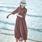 苧麻連身裙 盤口立領洋裝 寬鬆顯瘦度假裙-夢想家-0331