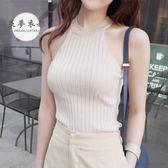 夏季韓版修身掛脖無袖T恤露肩針織削肩背心上衣女緊身外穿打底衫滿699打89折
