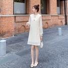小香風蕾絲連身裙秋裝新款女法式收腰顯瘦小...