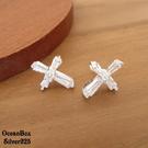 §海洋盒子§優雅華麗。鑲鑽鋯石十字架針式925純銀耳環《925純銀耳環》