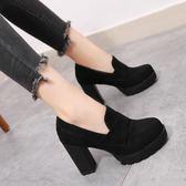 現貨出清 厚底短靴女馬丁靴百搭英倫粗跟女靴踝靴高跟靴子【蘇迪蔓】 11-8