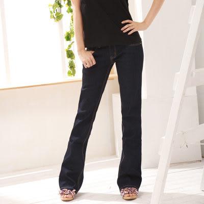 顯瘦--無法抵擋的強烈激瘦感-完美比例低腰深藍色小喇叭牛仔褲(S-7L)-G510眼圈熊中大尺碼