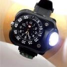 LED手表手電筒戶外運動夜跑燈石英表手腕燈防水個性充電野營燈 樂活生活館