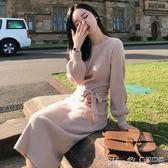 針織長裙毛衣連身裙長裙女2018新款寬鬆顯瘦燈籠袖針織裙打底裙秋冬款 曼莎時尚