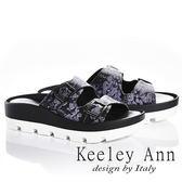 ★2018春夏★Keeley Ann美式嬉皮~個性暈染真皮軟墊厚底拖鞋(黑色)