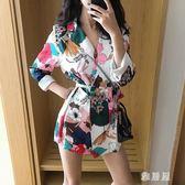 西裝外套 秋裝新款港味印花中長款西服外套寬鬆長袖韓版氣質小西裝女裝 LN3352 【雅居屋】