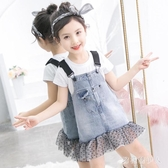 女童背帶裙兩件套裝裙2020夏裝兒童短袖時尚洋氣中大童洋裝潮 yu13464【棉花糖伊人】