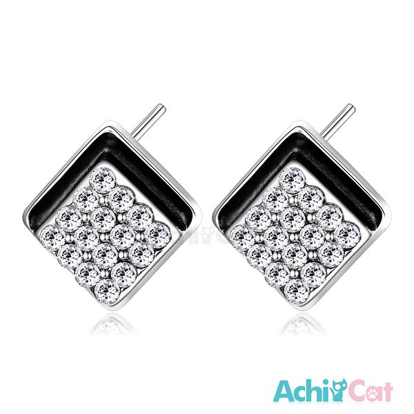 情人節禮物AchiCat 耳環 正白K 歡樂時光 耳針式 抗過敏鋼針 施華洛世奇元素 白水晶款*一對價格*G4073