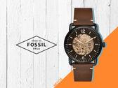 【時間道】FOSSIL都會休閒機械鏤空腕錶 /茶玻黑殼深棕皮帶 (ME3158) 免運費