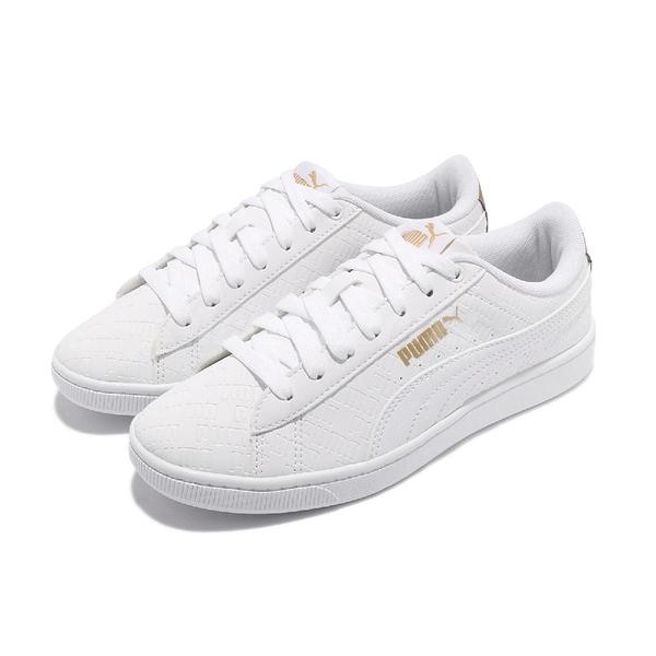 Puma 休閒鞋 Vikky v2 Sig 白 金 女鞋 小白鞋 金標 基本款 滿版印花 【ACS】 37322601