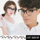 OT SHOP眼鏡框‧中性方框復古半框平光鏡羅志祥金屬造型粗膠框‧亮黑/霧黑/茶色/豹紋‧現貨‧G39