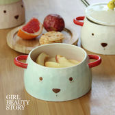 SISI【G8006】可愛木木熊陶瓷雙耳帶蓋陶瓷碗學生泡麵碗飯碗大碗湯碗