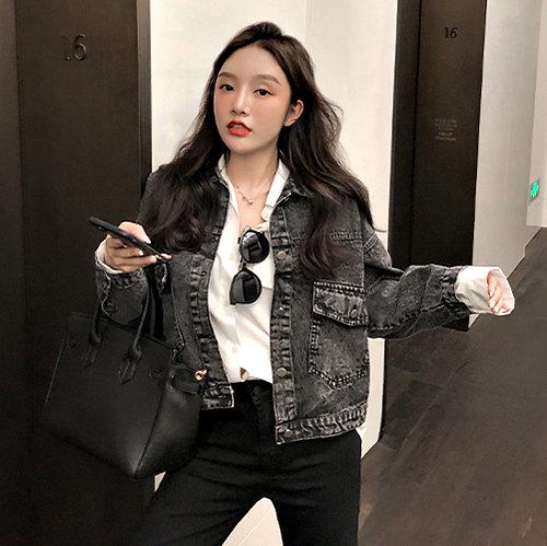 克妹Ke-Mei【AT59242】採購自留款 復古龐克槍黑色騎士風牛仔外套