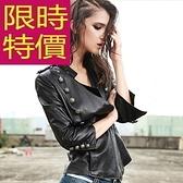 騎士機車女夾克精緻肩章-雙排扣皮衣外套真皮羊皮63h12【巴黎精品】
