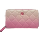CHANEL 香奈兒 粉色漸層牛皮ㄇ字卡包零錢包Classic Zipped Wallet Ombre【BRAND OFF】
