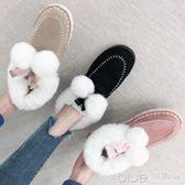 面包鞋女冬季加厚加絨平底雪地靴短筒防滑磨砂棉鞋百搭學生女靴子 深藏blue