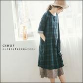 洋裝  無印日系雙層棉紗格紋洋裝   單色-小C館日系