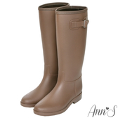 Ann'S突然期待雨天-素色銀扣長筒雨靴-咖