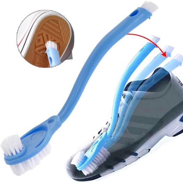 【BlueCat】洗鞋專用雙頭長柄彎曲清潔刷