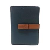 LOEWE 羅威 藍色x棕色牛皮扣式中夾 Medium Vertical Wallet 【二手名牌BRAND OFF】