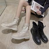 馬丁靴女短筒顯瘦厚底增高百搭短靴秋【小酒窩服飾】