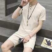 夏季短袖男土中國風半袖上衣服T恤V領潮流大碼短褲體恤衫套裝男裝  「時尚彩虹屋」