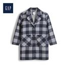 Gap女童復古格紋單排扣平駁領大衣513044-藍色格子
