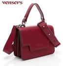 【vensers】小牛皮潮流個性包~肩背包 (NL1000102酒紅)