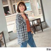 《AB7968-》格紋撞色線條雙口袋襯衫 OB嚴選