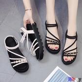 【貝貝】楔型涼鞋 涼鞋 厚底 增高 鬆糕 坡跟 綁帶 平底鞋